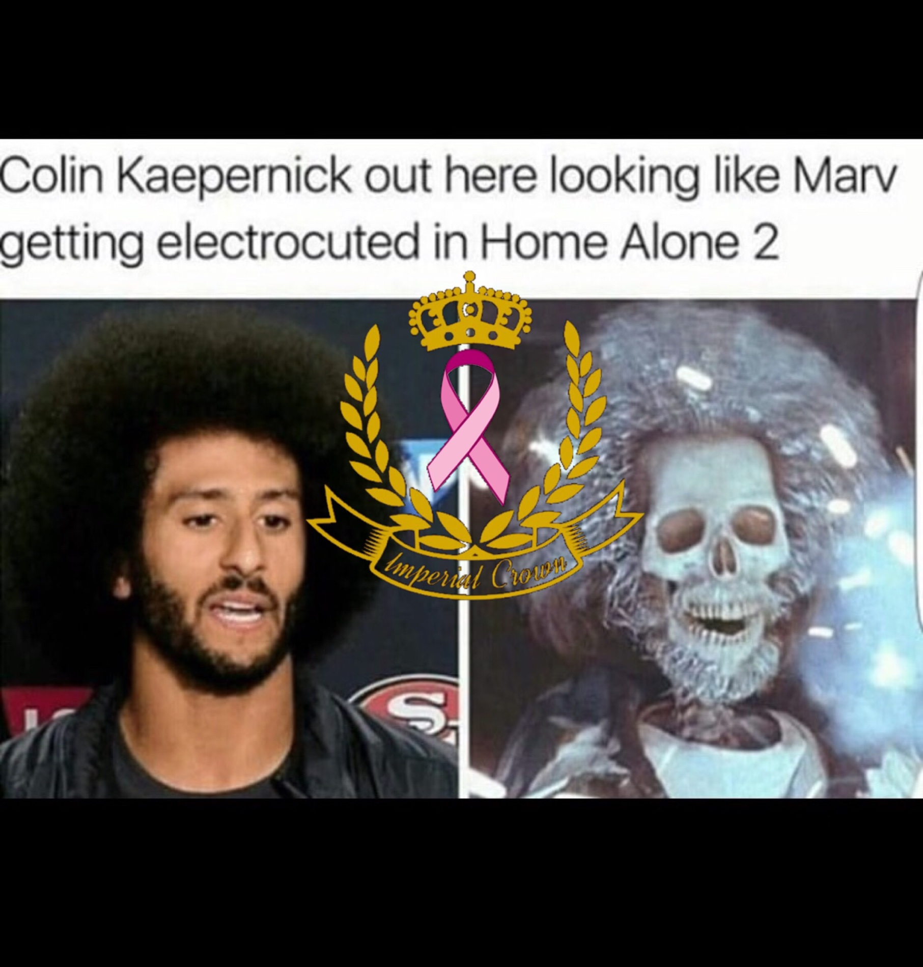 Colin kaepernick out here looking like Marv getting electrocuted in home alone 2