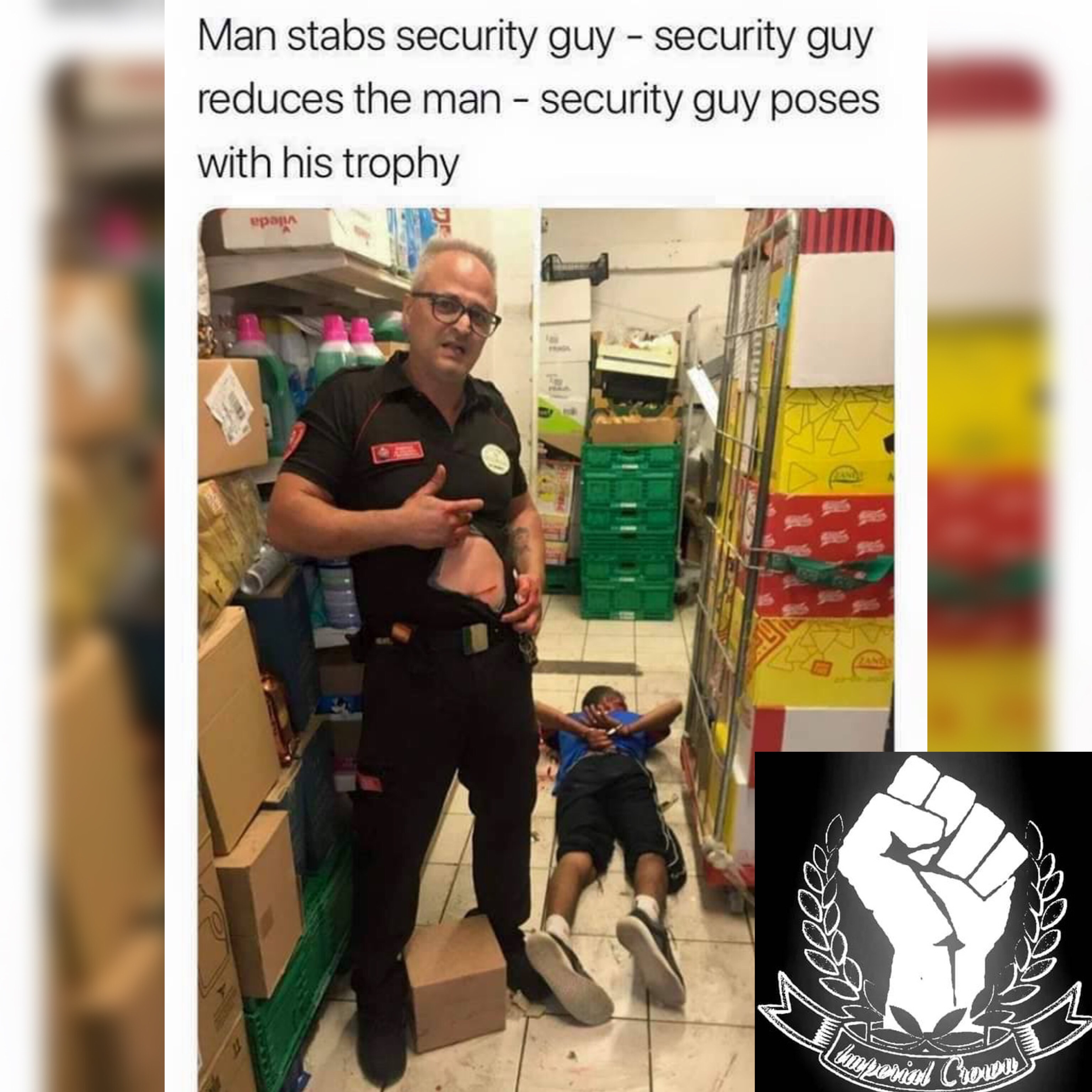 Man stabs security guy