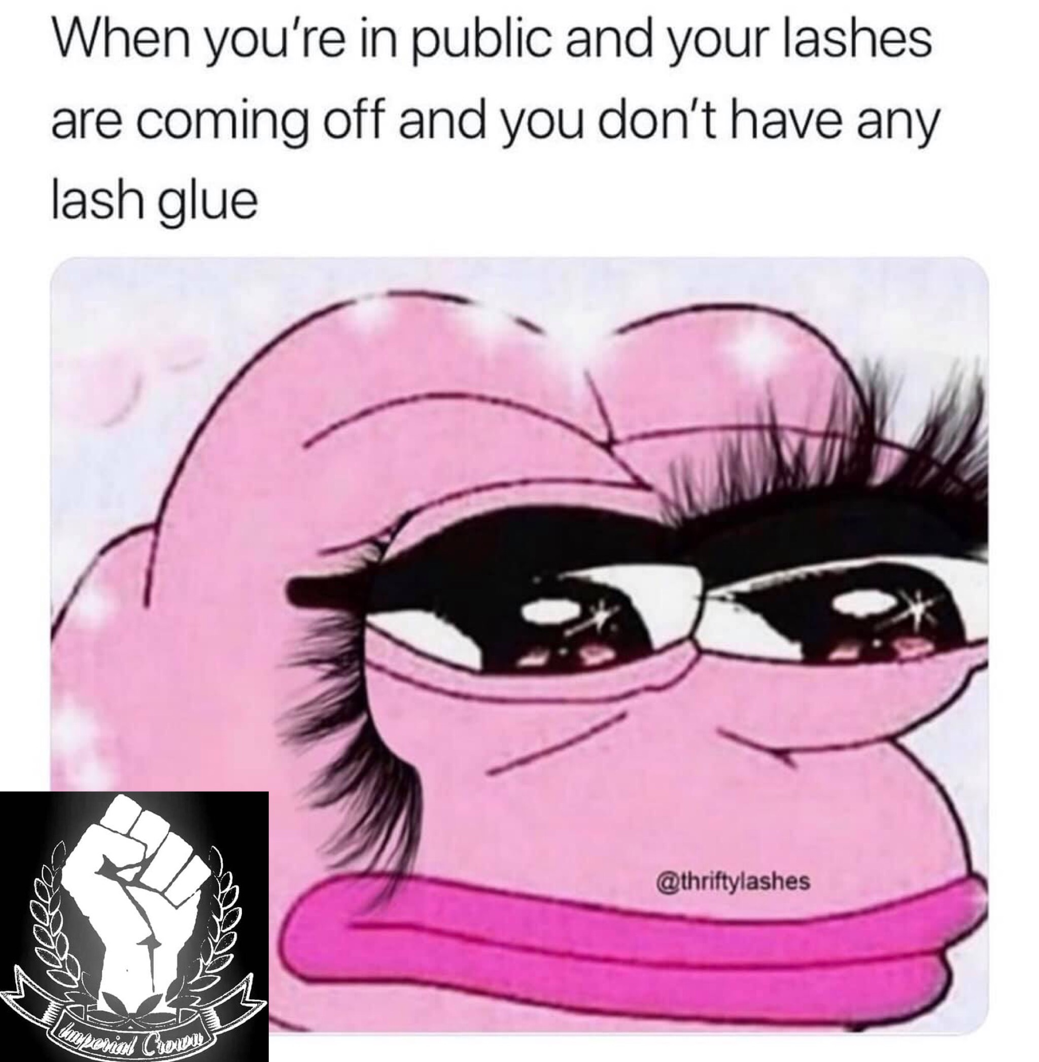 When you're in public and your lashes…