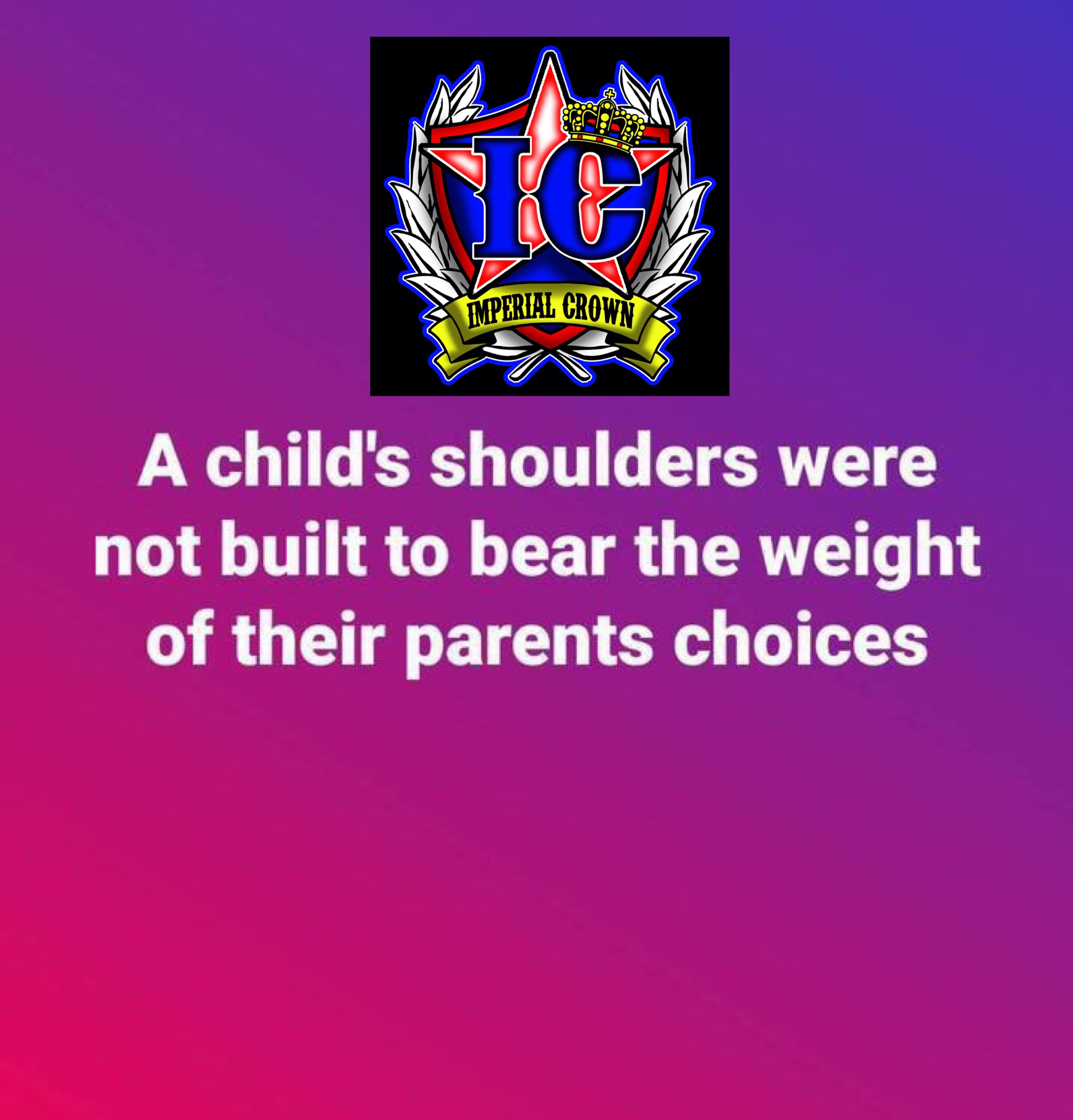 A child's shoulders were not built to bear the weight…