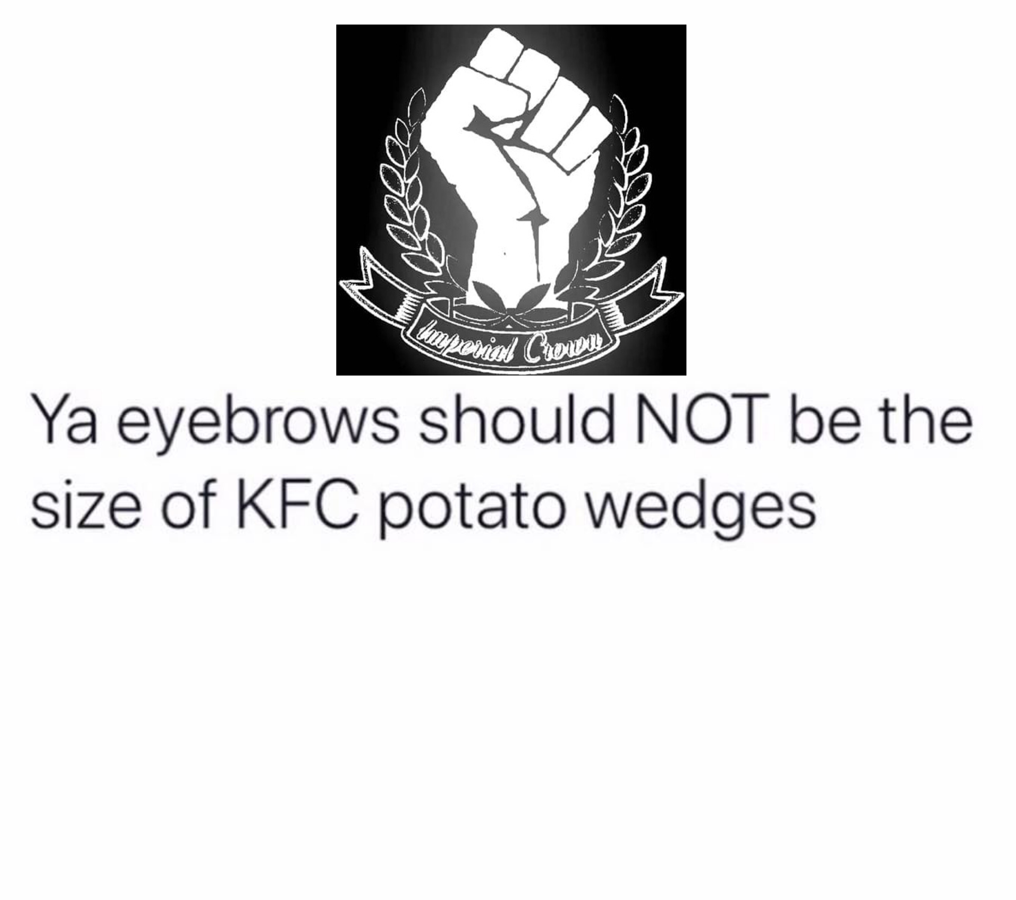 Ya eyebrows should NOT be the size of kfc potato wedges
