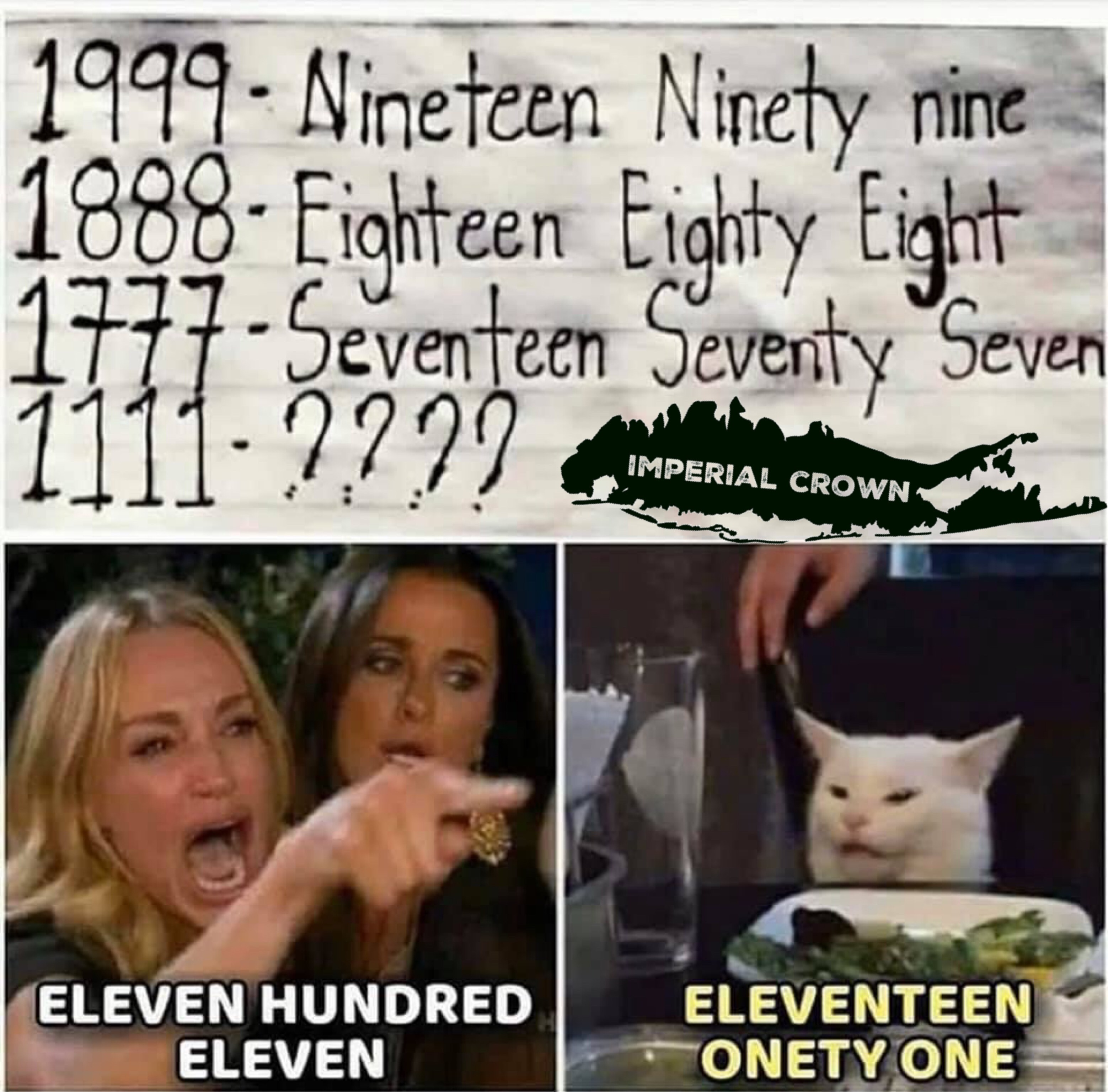 Finish the riddle nineteen ninety nine eighteen eighty eight seventeen seventy seven what goes next
