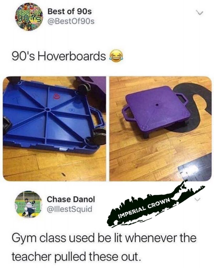 90s hoverboards gym class use to be lit whenever the teachers pulled these out