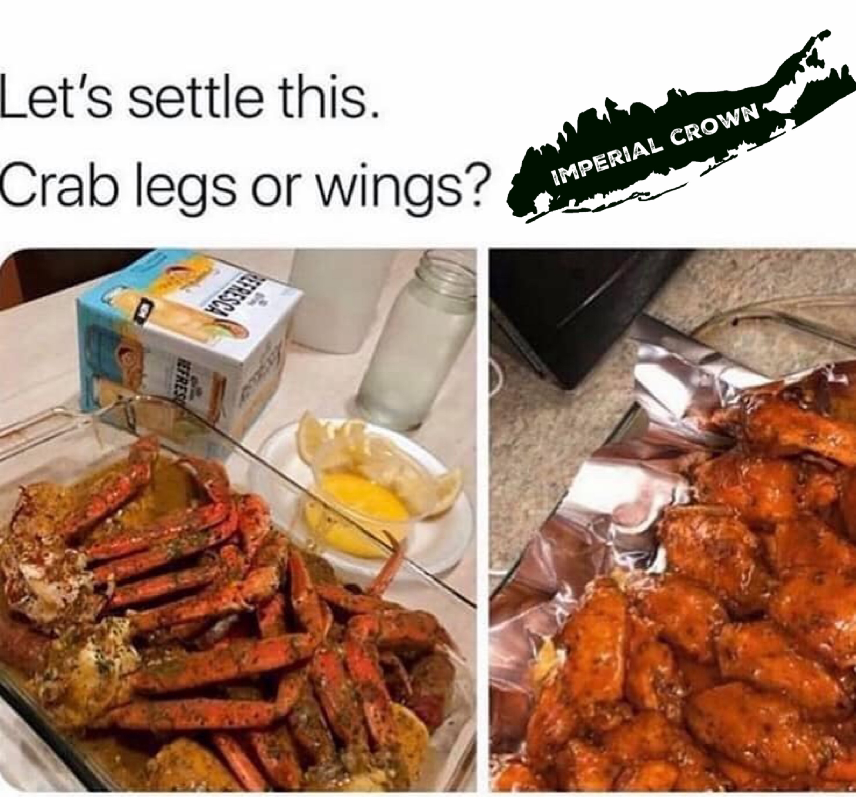 Let's settle this crab legs or wings