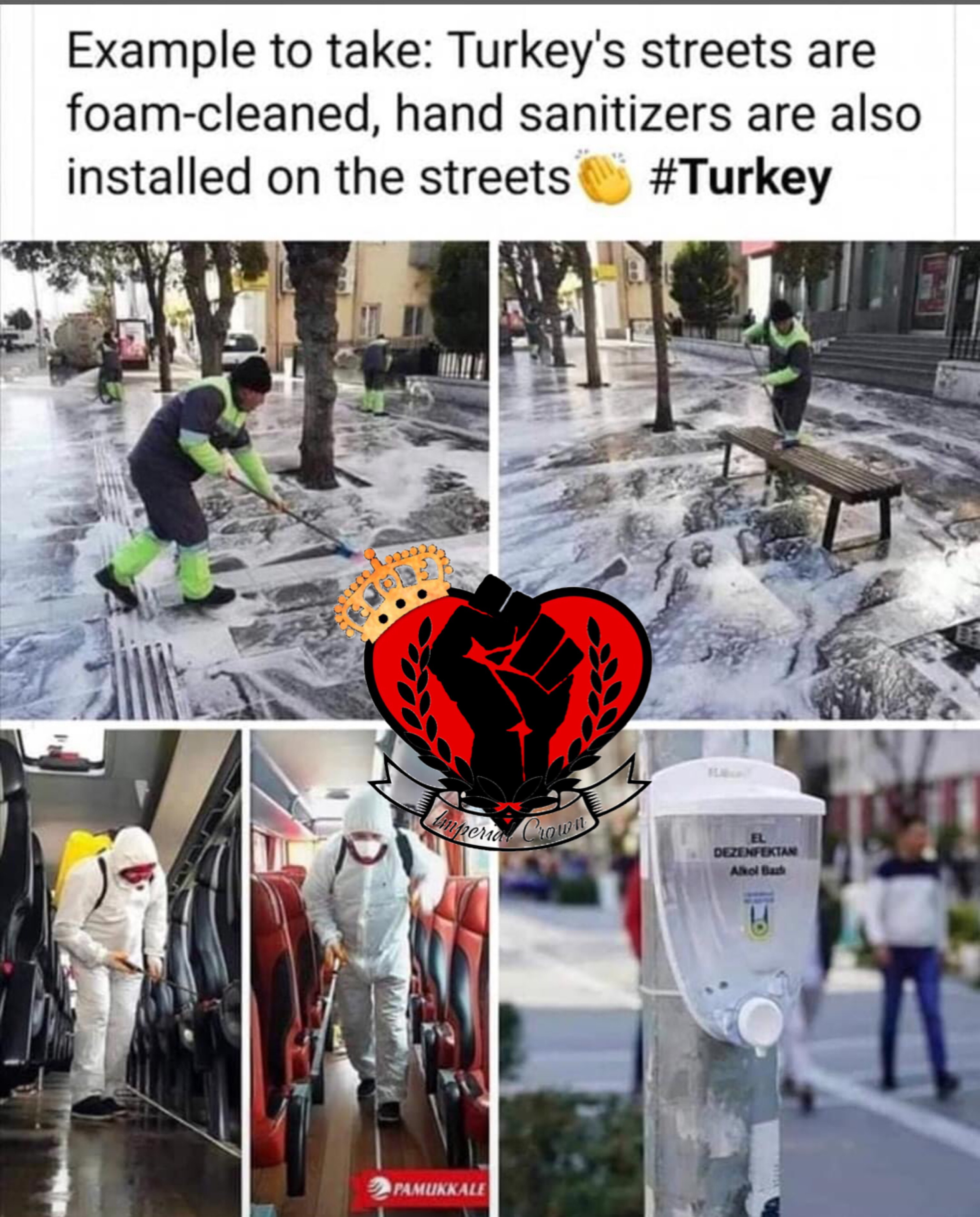 Example to take turkeys streets are foam cleaned hand sanitizers are also installed on the streets