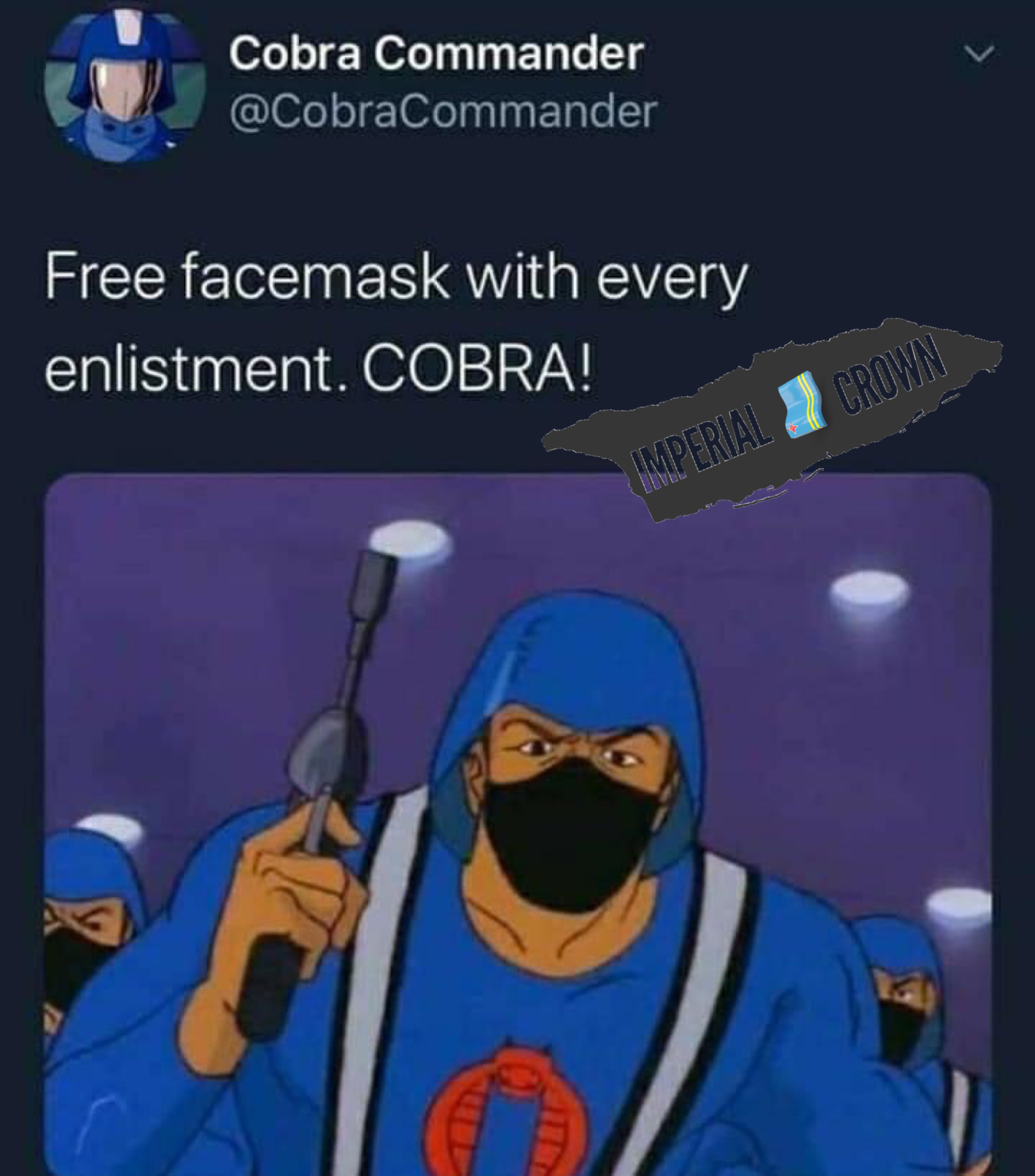 Free face mask with every enlisted COBRA
