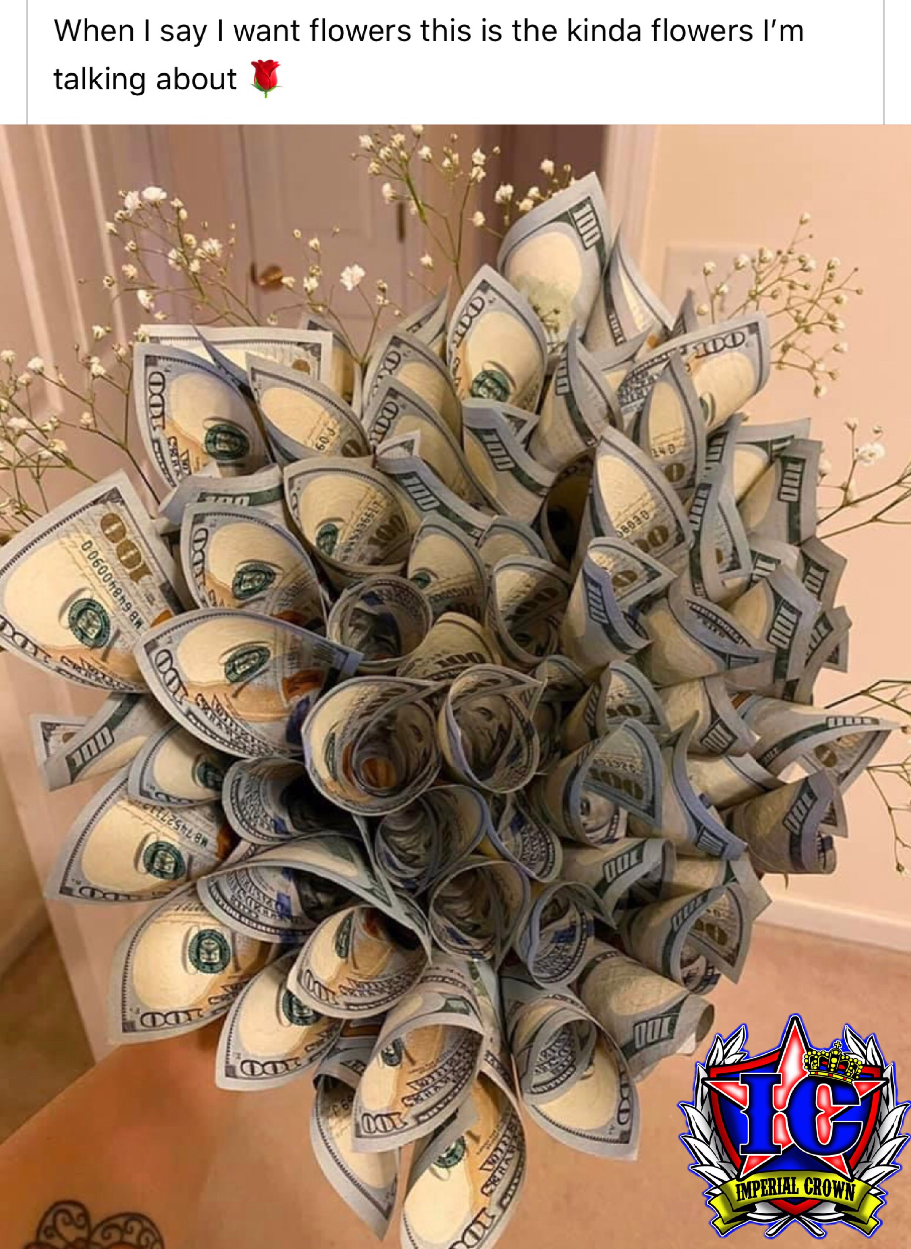 When I say I want flowers this is the kinda flowers I'm talking about