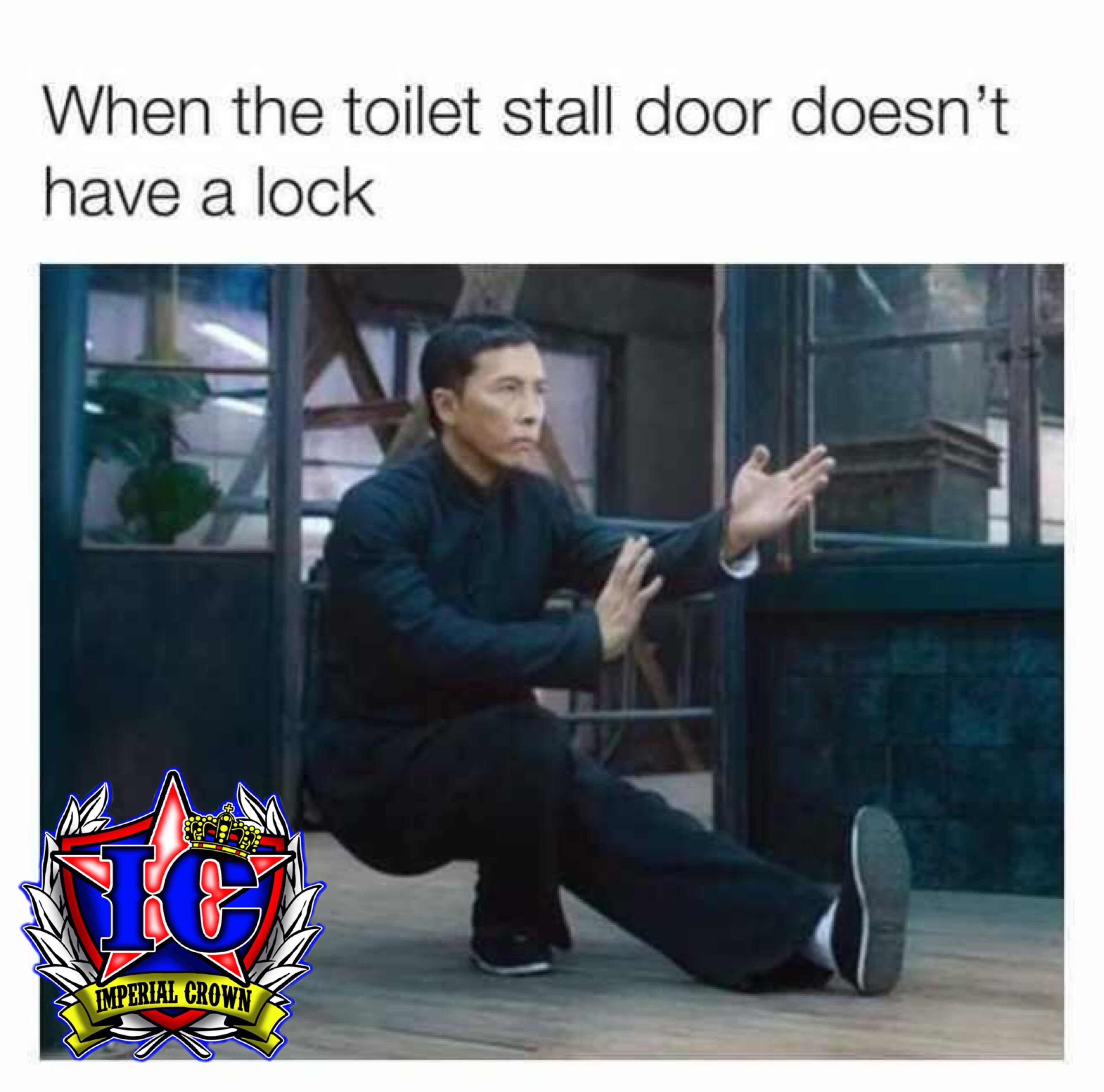 When the toilet stall door doesnt have a lock