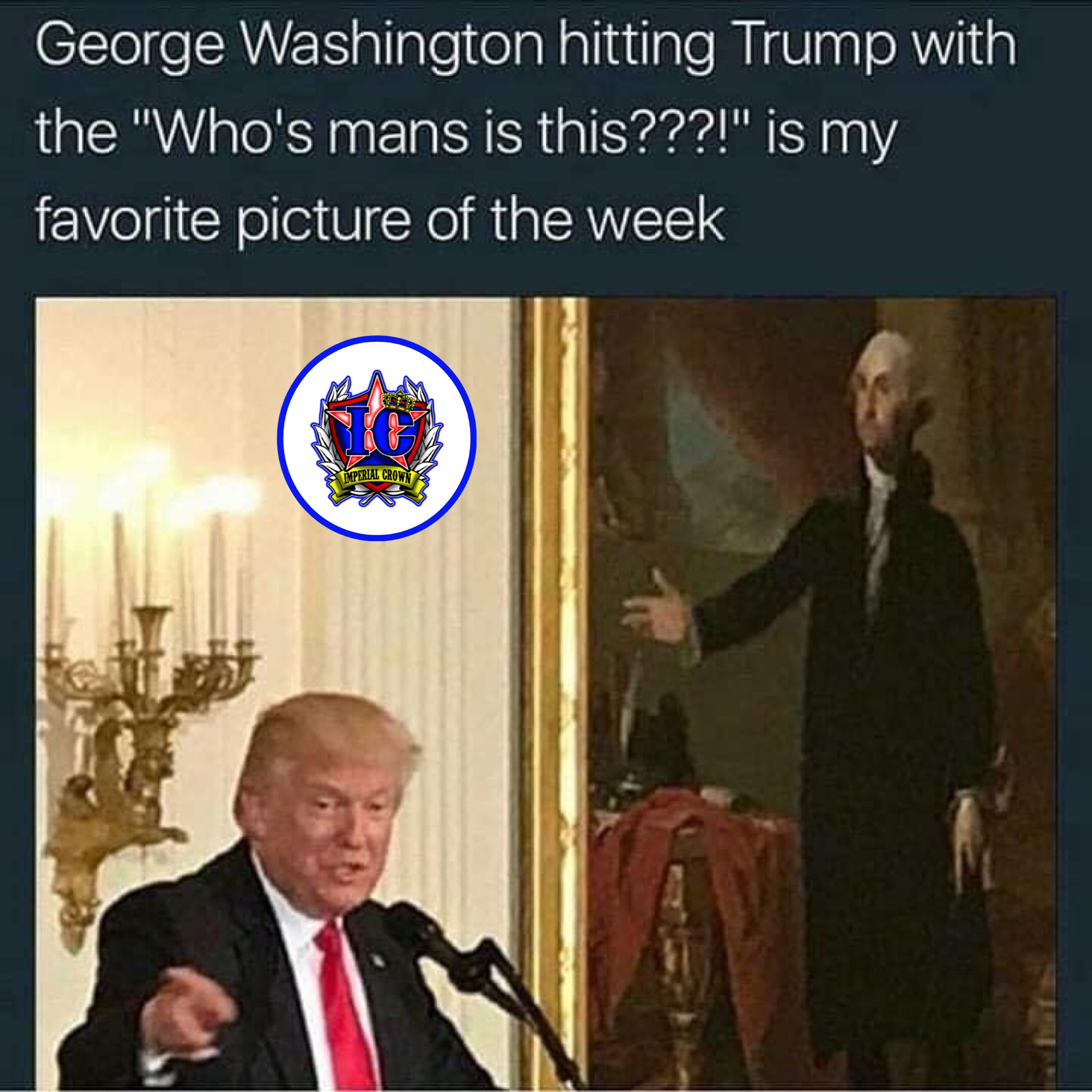 George Washington hitting Trump with the whos mans is this is my favorite picture of the week