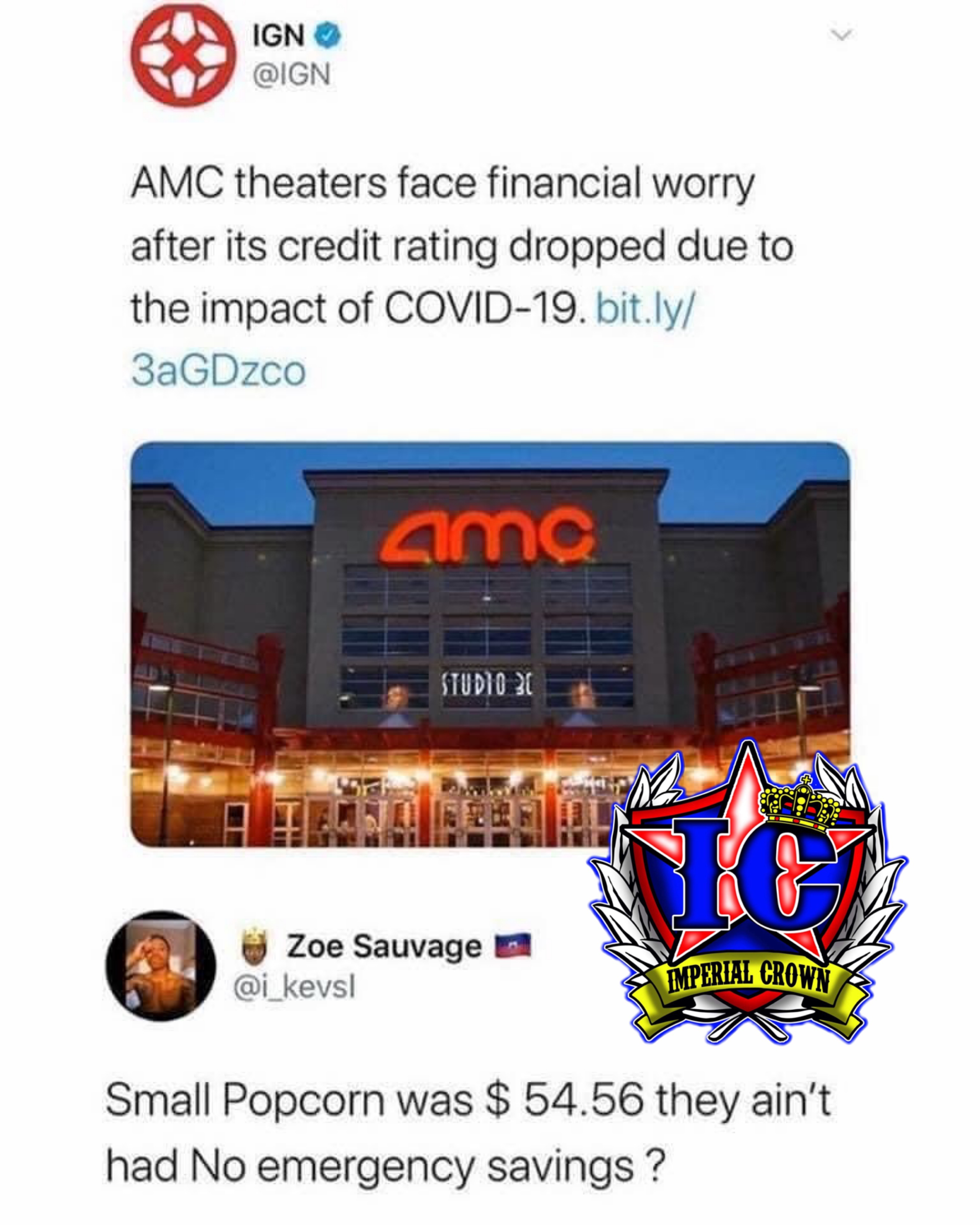 AMC theaters face financial worry after it's credit rating dropped due to the impact of COVID-19