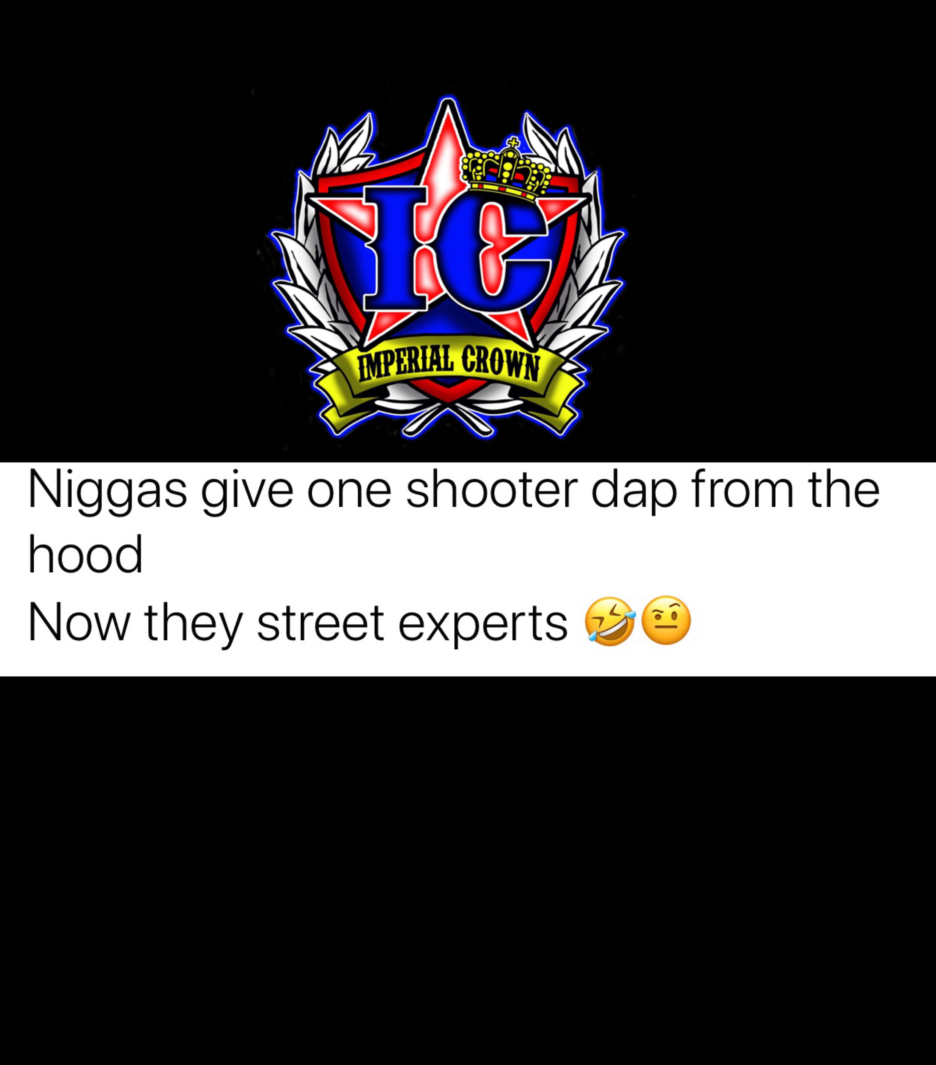 Niggas give one shooter dap from the hood now they street experts